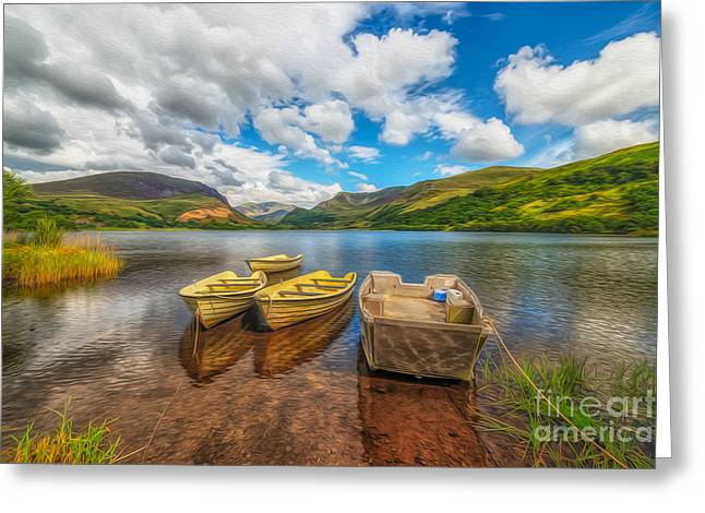 Green Boat Greeting Cards - The Boats  Greeting Card by Adrian Evans
