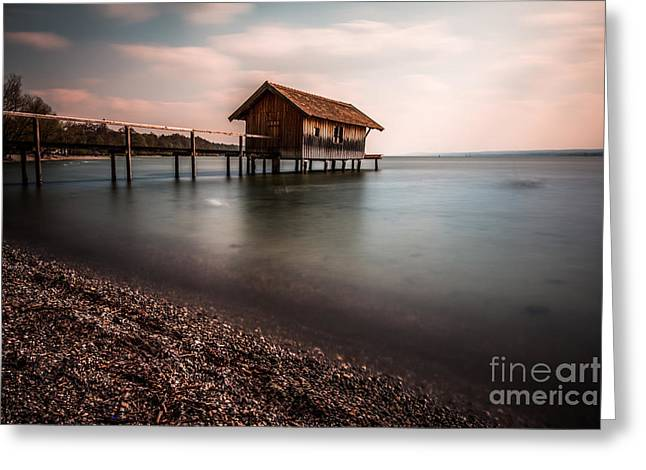 Longtime Exposure Greeting Cards - The boats house Greeting Card by Hannes Cmarits