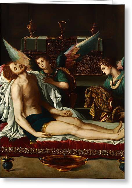 Religious Artwork Paintings Greeting Cards - The Body of Christ Anointed by Two Angles Greeting Card by Alessandro Allori