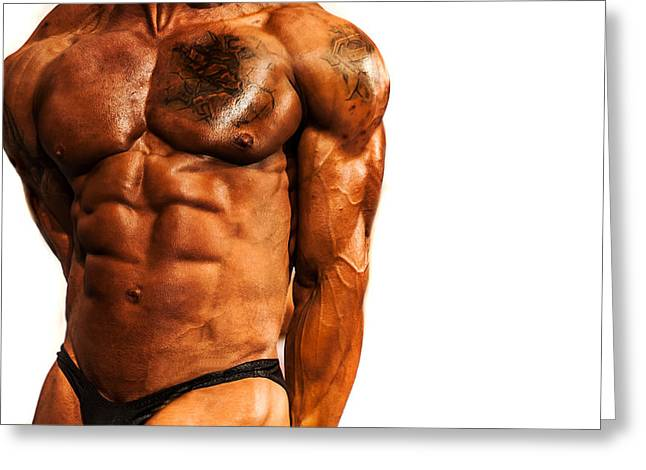 Biceps Greeting Cards - The Body to be Proud Of. BodyBuilding Greeting Card by Jenny Rainbow