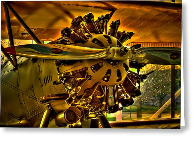 Plane Radial Engine Greeting Cards - The Boeing Model 100 Biplane Greeting Card by David Patterson