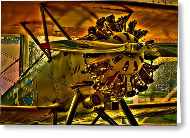 Plane Radial Engine Greeting Cards - The Boeing Model 100 P-12 Greeting Card by David Patterson