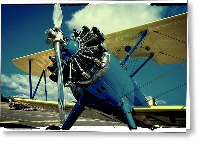 Plane Radial Engine Greeting Cards - The Boeing Stearman Biplane Greeting Card by David Patterson