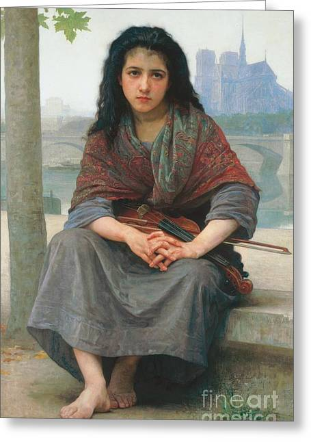 Violin Greeting Cards - The Bohemian Greeting Card by William Adolphe Bouguereau