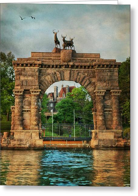 Bay St. Lawrence Greeting Cards - The Boldt Castle Entry Arch Greeting Card by Lori Deiter