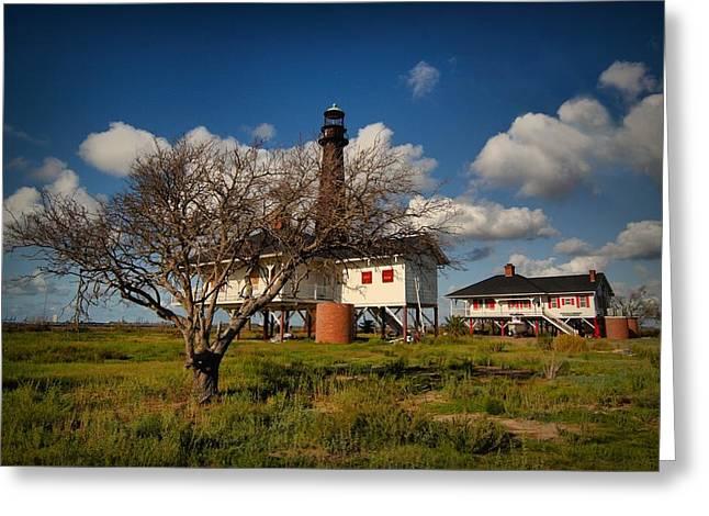 Galveston Digital Art Greeting Cards - The Bolivar Lighthouse II Greeting Card by Linda Unger