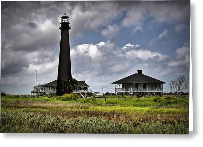 Galveston Digital Art Greeting Cards - The Bolivar Lighthouse Greeting Card by Linda Unger