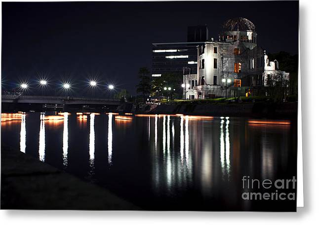 Hiroshima Peace Memorial Greeting Cards - The Bomb Dome at Night Greeting Card by Samantha Frey