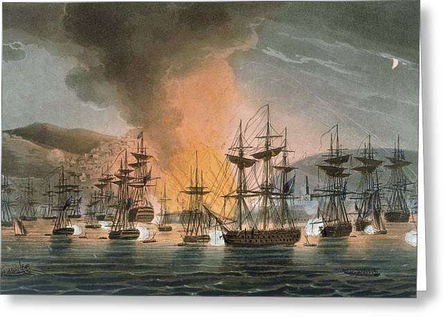 Sailing At Night Greeting Cards - The Bombardment Of Algiers Greeting Card by Thomas Whitcombe