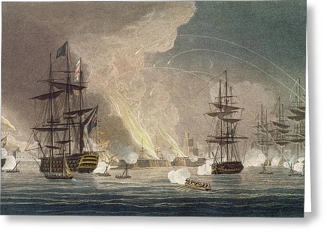 Castles Burning Greeting Cards - The Bombardment Of Algiers By The Royal Greeting Card by Thomas Whitcombe