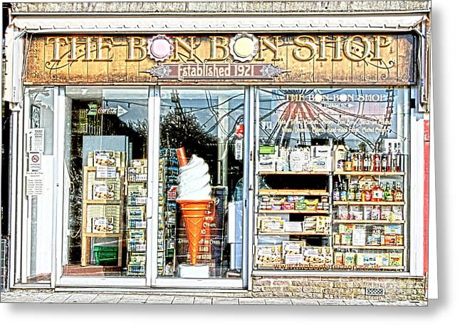Ice Cream Cornet Greeting Cards - The Bon Bon Shop Torquay Greeting Card by Terri  Waters