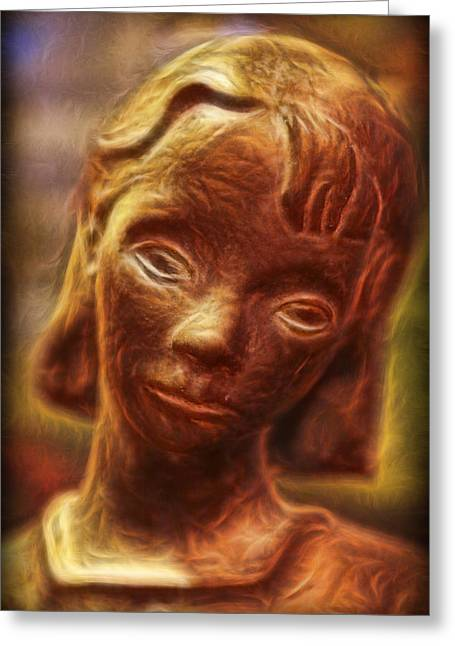 Sculpture Ideas Greeting Cards - The  Bonaventure Bird Girl - Sadness  Greeting Card by Lee Dos Santos