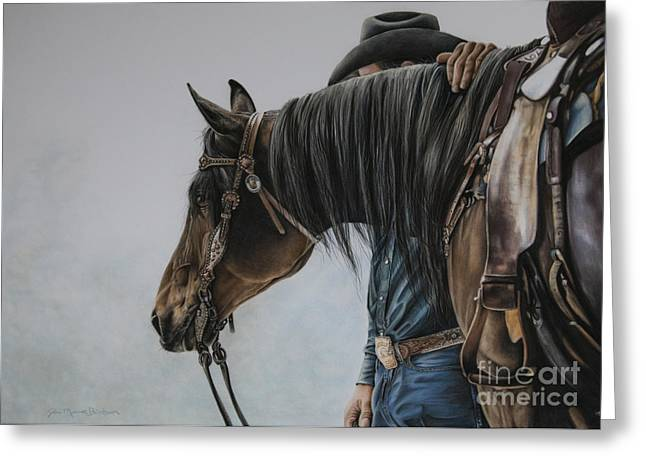 Stallion Pastels Greeting Cards - The Bond Greeting Card by Joni Beinborn