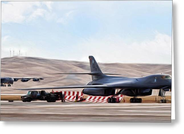 B-52 Greeting Cards - The Bone and the BUFF Greeting Card by Peter Chilelli