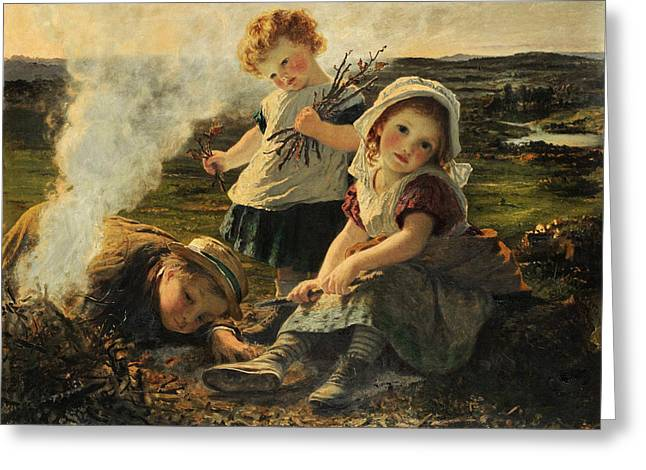 Young Teen Greeting Cards - The Bonfire Greeting Card by Sophie Anderson