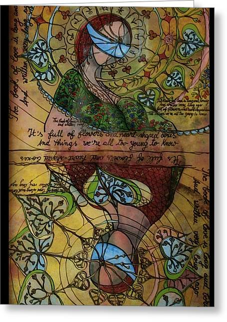 Magic Glass Art Greeting Cards - The book of love - part 1 Greeting Card by Cornelia Tersanszki