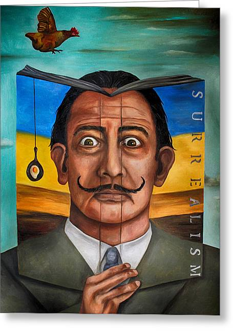 Mustache Greeting Cards - The Book Of Surrealism edit 2 Greeting Card by Leah Saulnier The Painting Maniac