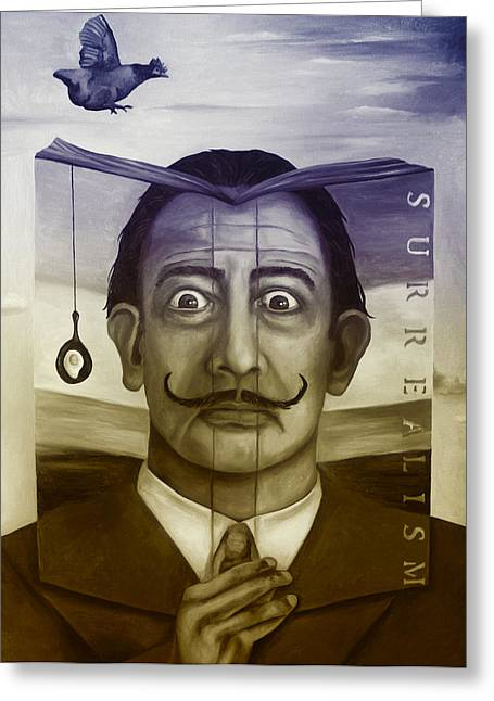Mustache Greeting Cards - The Book Of Surrealism edit 4 Greeting Card by Leah Saulnier The Painting Maniac