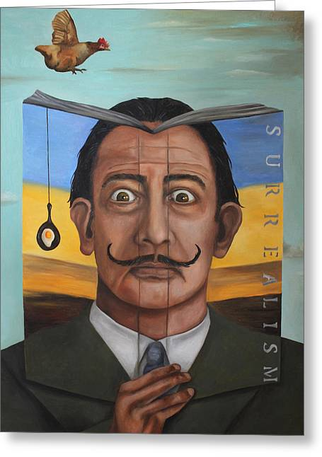 Dali Greeting Cards - The Book Of Surrealism Greeting Card by Leah Saulnier The Painting Maniac