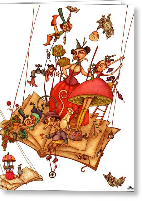 People Greeting Cards - The Books World Greeting Card by Autogiro Illustration