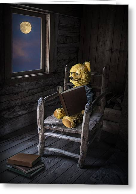 Cute Bear Cartoon Greeting Cards - The Bookworm Greeting Card by Randall Nyhof