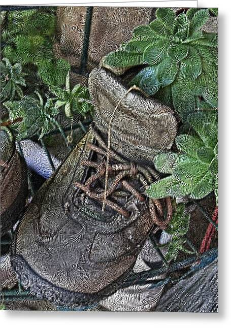Stein Greeting Cards - The boot planter Greeting Card by Valerie Stein