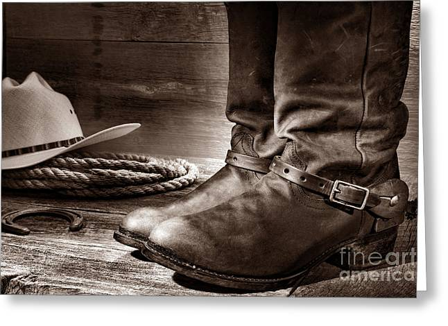 Black Boots Greeting Cards - The Boots Greeting Card by American West Legend By Olivier Le Queinec