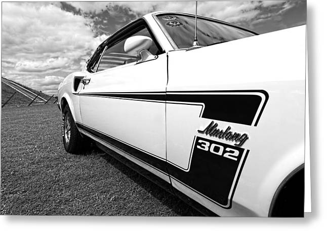 The Boss Greeting Cards - The Boss - 69 Mustang 302 in Black and White Greeting Card by Gill Billington