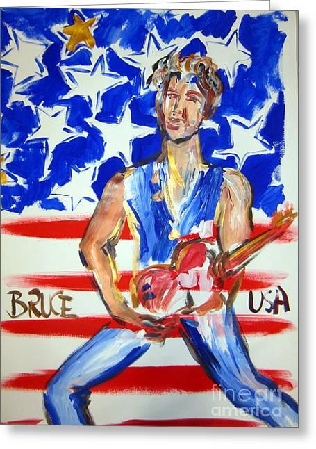 Bruce Springsteen Paintings Greeting Cards - The Boss Greeting Card by Roberto Gagliardi