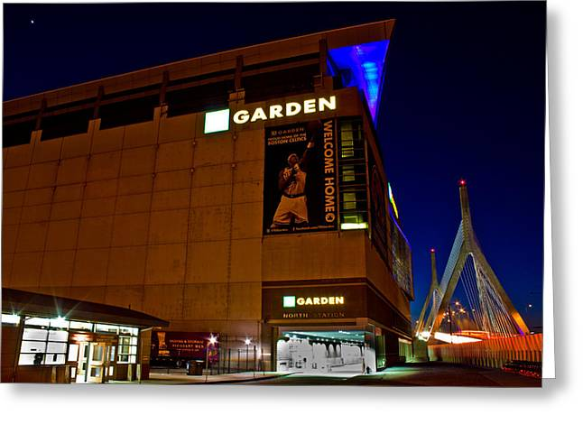Boston Garden Greeting Cards - The Boston Garden and Bunker Hill Bridge Greeting Card by John McGraw
