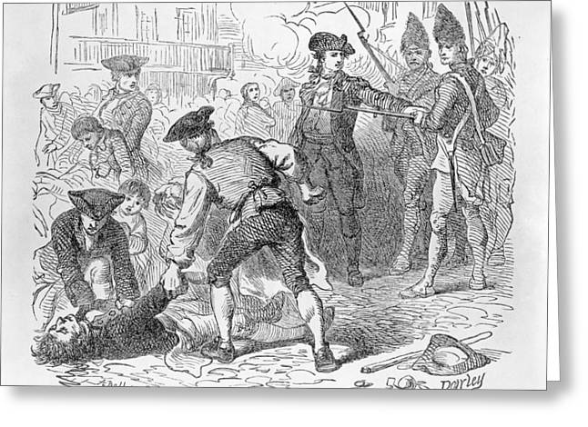 Bayonet Photographs Greeting Cards - The Boston Massacre, March 5th 1770, Engraved By A. Bollett Engraving B&w Photo Greeting Card by Felix Octavius Carr Darley