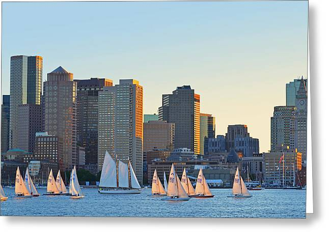 Two Sail Boats Greeting Cards - The Boston Skyline from East Boston Greeting Card by Toby McGuire