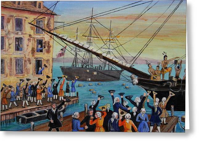 Tea Party Greeting Cards - The Boston Tea Party  Greeting Card by Jan Mecklenburg