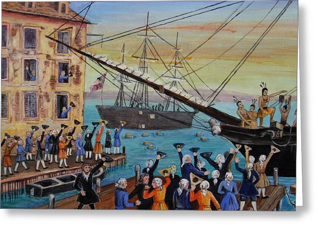 18th Century Greeting Cards - The Boston Tea Party  Greeting Card by Jan Mecklenburg