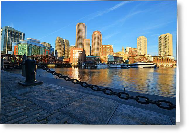 Boston Ma Greeting Cards - The Boston Waterfront in morning light Greeting Card by Toby McGuire