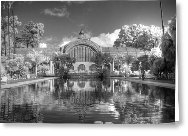 Infared Photography Greeting Cards - The Botanical Building in Black and white Greeting Card by Jane Linders