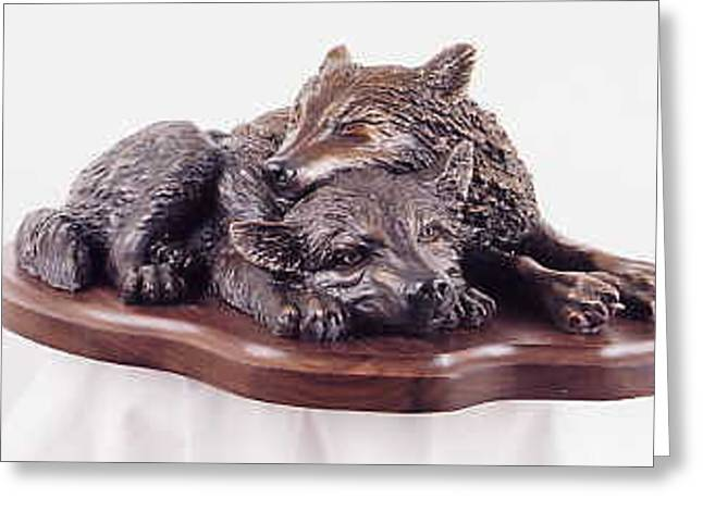 Wolf Sculptures Greeting Cards - The Bottom Bunk Greeting Card by Lori Salisbury
