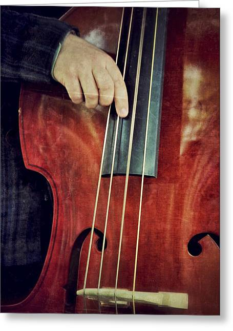 Bass Player Greeting Cards - The Bottom Line Greeting Card by Odd Jeppesen