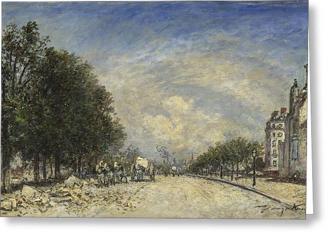 The Boulevards Greeting Cards - The Boulevard de Port-Royal. Paris Greeting Card by Johan Barthold Jongkind