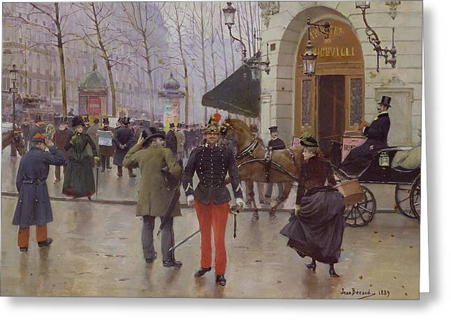 The Boulevards Greeting Cards - The Boulevard des Capucines and the Vaudeville Theatre Greeting Card by Jean Beraud