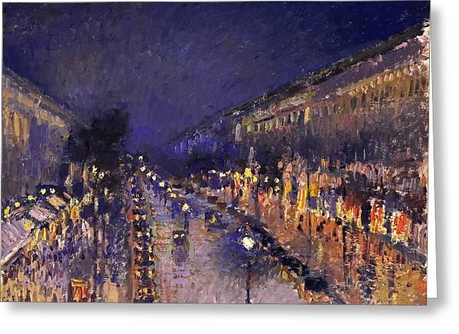 Masterful Greeting Cards - The Boulevard Montmartre At Night Greeting Card by Camille Pissarro