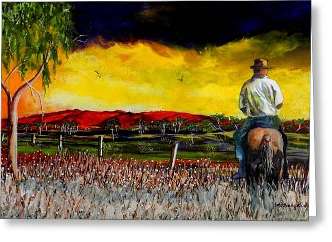 The Boundary Rider Greeting Card by Sandra Sengstock-Miller