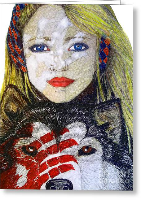 Huskies Drawings Greeting Cards - The Bounding Greeting Card by Justin Moore