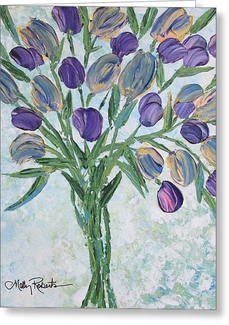 Vase Of Flowers Greeting Cards - The Bouquet I Greeting Card by Molly Roberts
