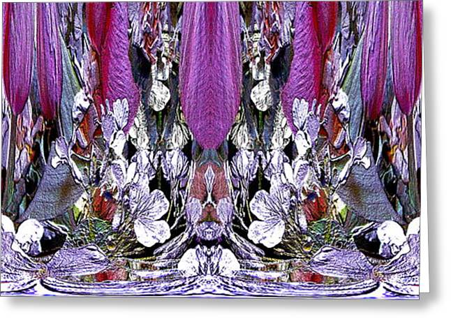 Purple Abstract Greeting Cards - The Bouquet Unleashed 23 Greeting Card by Tim Allen