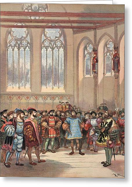 Burgundy Drawings Greeting Cards - The Bourgogne Herald, Sent By Charles Greeting Card by Albert Robida