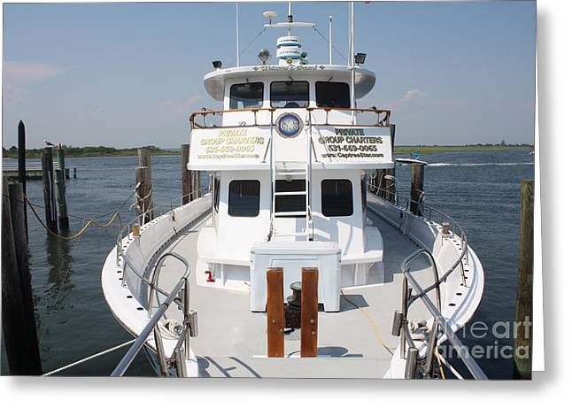 Slip Ins Greeting Cards - The Bow of the Captree Star Docked at Captree State Park Greeting Card by John Telfer