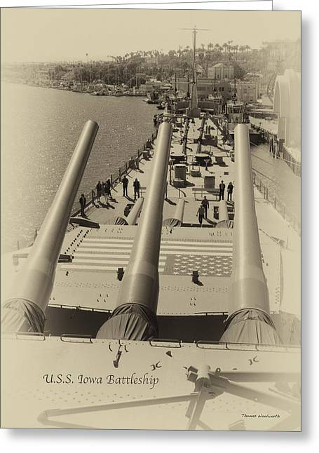 16 Inch Guns Greeting Cards - The Bow View Turrets 2 and 1 USS Iowa Battleship Heirloom Greeting Card by Thomas Woolworth