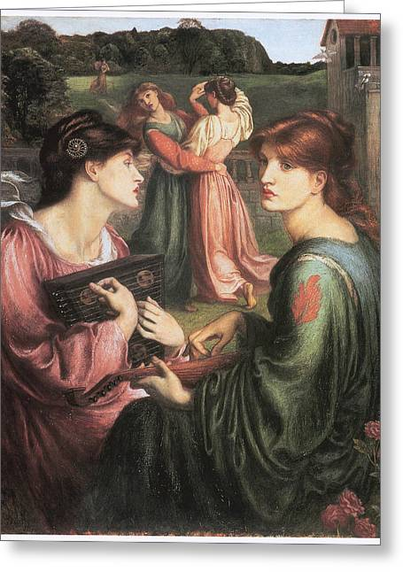 Playing Musical Instruments Greeting Cards - The Bower Meadow Greeting Card by Dante Gabriel Rossetti