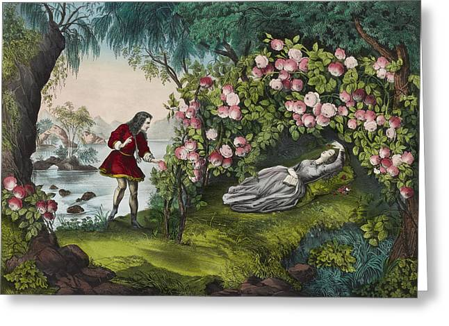 Woman Of The Forest Greeting Cards - The Bower of roses circa 1856 Greeting Card by Aged Pixel